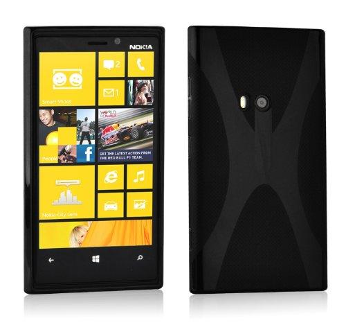 Nokia Lumia 920 Silikon-Hülle in SCHWARZ von Cadorabo - X-Line Design TPU Schutz-hülle - Handy-hülle Bumper Case Back-Cover in OXID-SCHWARZ
