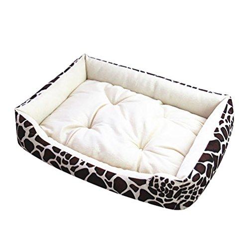 YOUJIA Animale Letto Cani Casa Accogliente Nido Caldo Morbido Cuscino Tappetino Per Cane / Gatto / Coniglio (Beige Leopardo)