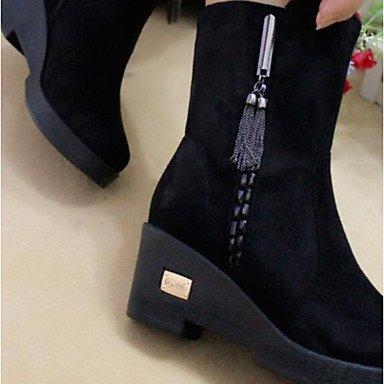 Stivali da donna Spring Comfort PU Tessuto Casual Dark Brown Black Black