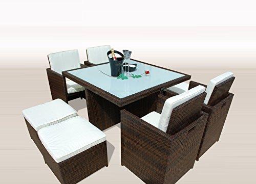 PolyRattan -- DEUTSCHE MARKE -- EIGNENE PRODUKTION -- 8 Jahre GARANTIE auf UV-Beständigkeit Ragnarök-Möbeldesign Gartenmöbel Essgruppe Tisch + 4 Stühle & 4 Hocker 12 Polster Braun