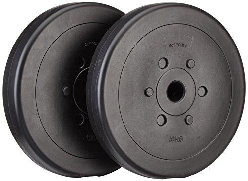 ScSPORTS 20 kg Hantelscheiben-Set, Kunststoff, 2 x 10 kg Gewichte, 30 mm Bohrung, ideal für ein leises und bodenschonendes Hanteltraining, Zuhause