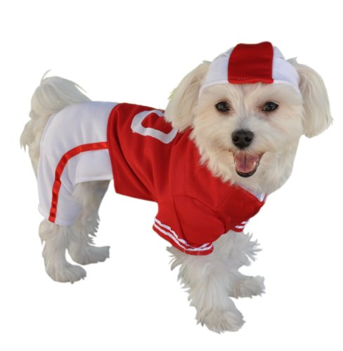 Spieler Halloween Kostüm Fußball - Anit Zubehör Rot Fußball Jersey Hund Kostüm, 12Zoll