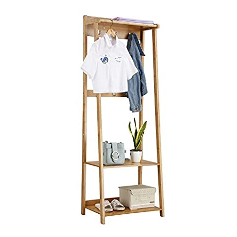 LANGRIA Multifunctional Standing Bamboo Garment Stand and Shoe Bench with 6 Coat Hooks 1 Clothes Hanging Rod Organisational Storage Rack for Entryway Living Room Bedroom Dressing Room, Bamboo Colour