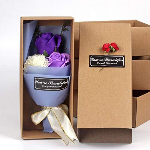 Gaddrt Seidenblumen Blumen Strauß Box Duftenden Bad Körper Blütenblatt Rose Blume Seife Hochzeitsdekoration Geschenk Am Besten Für Büro Küche Garten Party Wanddekoration (Purple)
