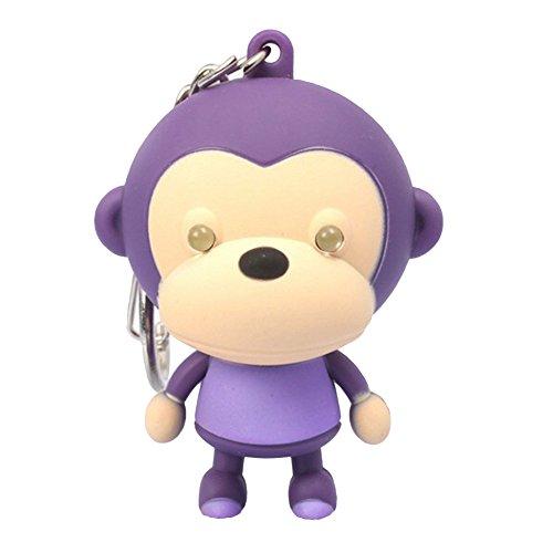 GlobalDeal Direct Einhorn Schlüsselanhänger Pferd wichtigsten Ketten LED Light Sound Cartoon Design Geschenk, Monkey(Purple+Red) (Red Designs Monkey)