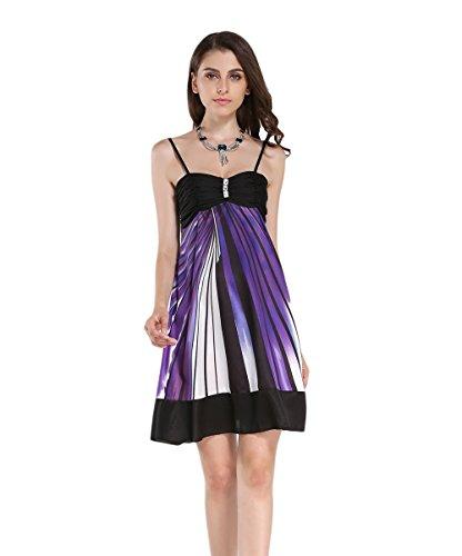 JOTHIN Damen Halfter ärmellose Sommerkleid Loose A-linen Kleider Lila