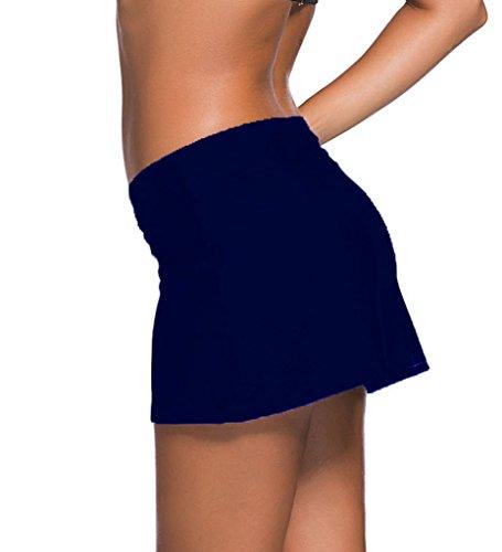 Aleumdr Damen Baderock figuroptimierender Strandrock UV Schutz Wassersport Bikinirock Badeshorts Skorts Navy Dunkelblau Medium -