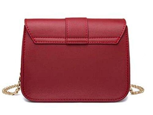 2553b1343611a Damen Ketten Tasche Schultertasche Umhängetasche Mode Elegante Vintage  Kleine Handtaschen Mini Black Bag Red ...