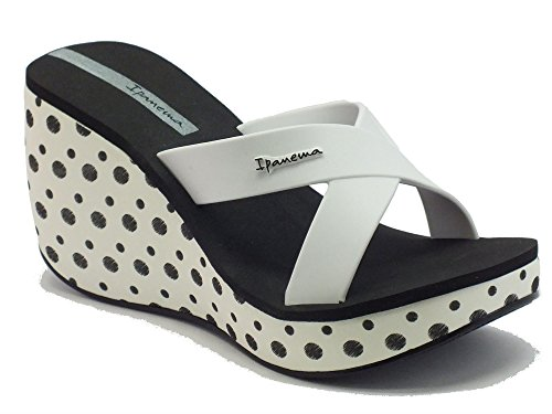 Sandali per donna Ipanema in caucciù bianco e nero zeppa alta (Taglia 39)