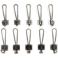 Yoodeet Pack of 10 Heavy Duty Rustic Entryway Hooks Wall Mounted Vintage Double Coat Hangers with Four Extra Long Bronze Metal Screws Included