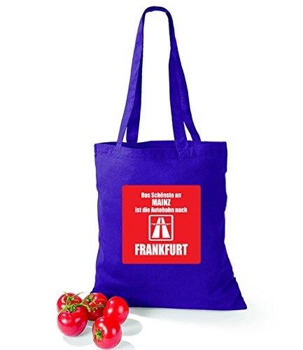 Artdiktat Baumwolltasche Das Schönste an Mainz ist die Autobahn nach Frankfurt sunflower violet