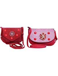 MITHHI - Combo (Set Of 2) Sling Purse Leather Matte Finish Red & Stud Glossy Finish Pink (Same As Shown In Image...