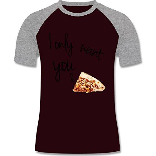 Statement Shirts - I only want you and pizza - zweifarbiges Baseballshirt für Männer Burgundrot/Grau meliert