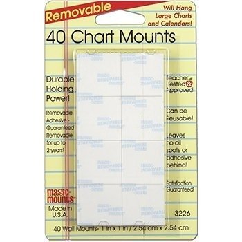 MAGIC MOUNTS CHART MOUNTS 1IN X 1IN PACK OF 40 by Miller