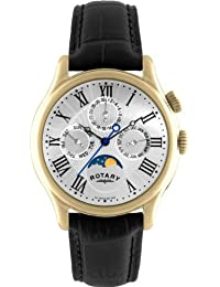 Rotary Men's Quartz Watch with White Dial Analogue Display and Black Leather Strap GS02839/01