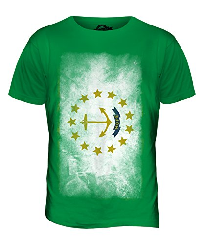 CandyMix Bundesstaat Rhode Island Verblichen Flagge Herren T Shirt Grün
