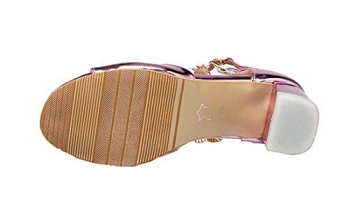 Uh Rosa Open Perle Strass Delle Donne Basso Cinturino E Tacco Brillanti Colori Con Sandali Blocco Toe Alla Caviglia 5 Centimetri BBwrpHq