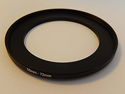 vhbw Step UP Filter-Adapter 55mm-72mm schwarz für Kamera Agfa, Agfaphoto, Canon, Casio, Fujifilm, Kodak, Minolta, Nikon, Olympus