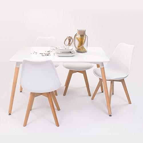 Conjunto de mesa de cocina TOWER 120 + 4 sillas DAY insp-Eames (Blanco)