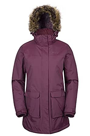 Mountain Warehouse Canyon Womens Waterproof Faux Fur Hooded Jacket Burgundy 10