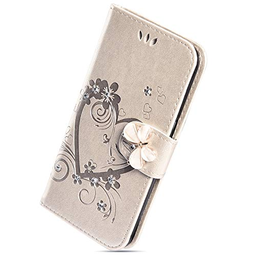 Herbests Custodia compatibile con Huawei Mate 20 Case Cover PU Pelle Custodia Portafoglio Elegante Cover con Diamantes Strass a Libro Flip Case Magnetico con Supporto, Oro