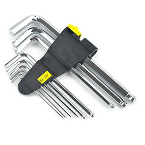 Kungfu Mall 6205 9-teiliges Set Hex-Key Wrench 1,5/2 / 2,5/3 / 4/5 / 6/8 / 10 mm Hand Tool Ball Point End Silver Tone