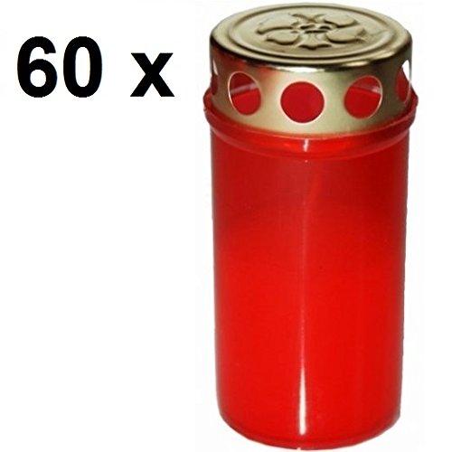 60 x Premium Grabkerzen, Rot 60 Std Öllichter Grablicht Kompo Engel