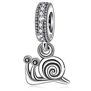 925 Sterling Silber Hängende Charms für Europäische Armband & Halskette, Natur Glück Inspiration Schnecke Charms, Schmuck von CELESTIA (Schnecke charm)