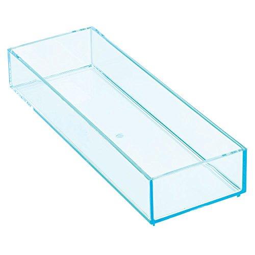 iDesign 02807EU Clarity Stapelbarer Schubladen-Organizer mit Leuchtkante, M, türkis