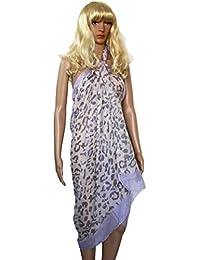 Paréo foulard à motifs léopard sables et mauves