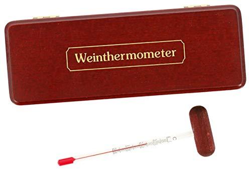 Lantelme Weinthermometer Holzetui mahagoni lackiert Wein Schnaps Cognac Sekt Weinglas Thermometer Analog Holz Box 2742