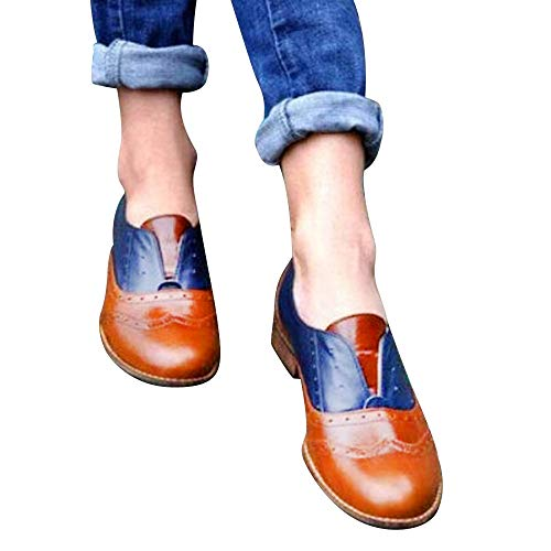 OSYARD Damen Mary Jane Halbschuhe Freizeitschuhe Comfort Basic Loafers Schnürhalbschuhe Große Größe, Frauen Runde Zehe Shoes Flache Schuhe Leder Booties Slip On Pumps(260/43, Braun)