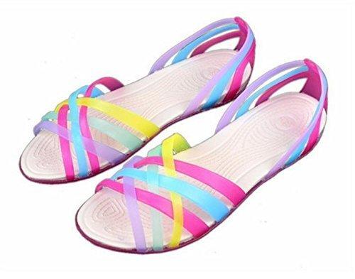 Minetom Donne Scarpe Gelatina Estate Spiaggia Sandali Piatto Tacco Pantofole Sandali Gladiatore Rose