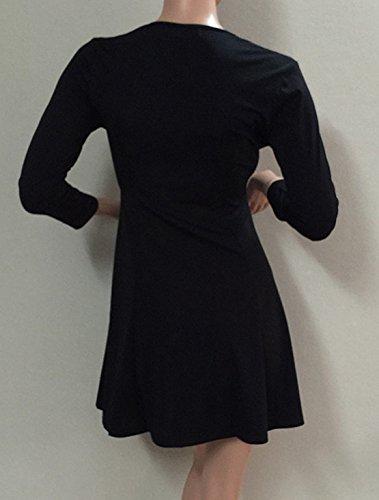 Damen Reizvolle Herbst Tief V Ausschnitt mit reißverschluss Minikleider 3/4-Arm Faltenrock VolltonfarbeTunikakleid Ballkleid Cocktailkleid Abendkleider Partykleid Schwarz