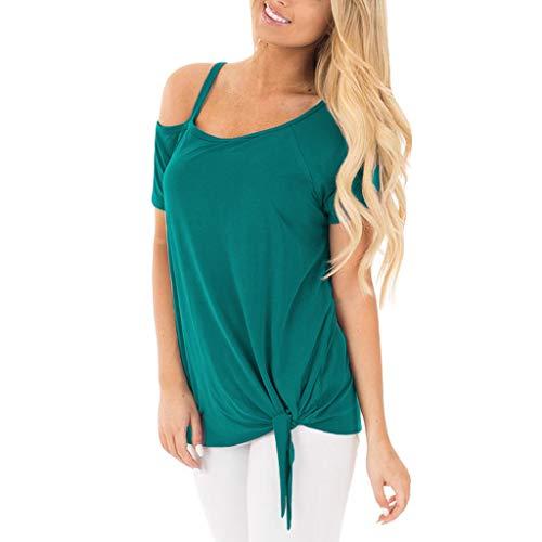 CAOQAO 2019 Sommer Damen Off Schulter Mode LäSsig TräGerlos Feste Kurze ÄRmel Knoten T-Shirt Top Blusen (XXL,Blau)