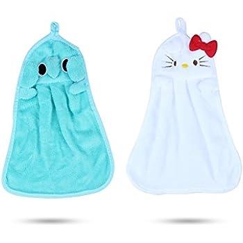 Edealing Cute Cartoon microfibre animal enfants Les enfants absorbant essuie-mains à sec Belle serviette pour Cuisine Salle utilisation pack de 2