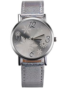 Souarts Damen Armbanduhr Einfach stil Weihnachts dekor Schnee Muster Analoge Quarz Uhr mit Batterie Silber Farbe