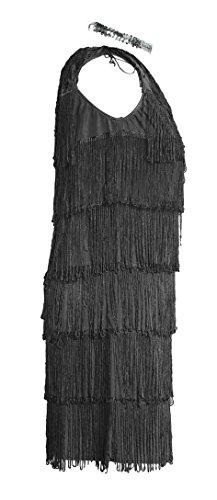 Imagen de traje de fantasía de flapper de los 20s de emma's wardrobe  incluye vestido con flecos negro, la venda y la boa de plumas blancas  disfraz de vestido de flapper para halloween y presentaciones  de alta calidad  tamaños eu 44 alternativa