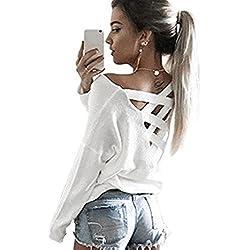 Minetom Mujeres Camiseta Con Manga Larga Escotado por Detrás Camisa Blusa T-shirt Blouses Pullover Sudadera Blanco ES 42