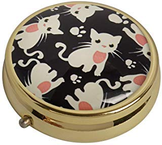 XingBoo Medizin-Tablet-Tasche mit süßer Katze, für Reisen, Gold, Vitamin-Glas, dekorative Box -