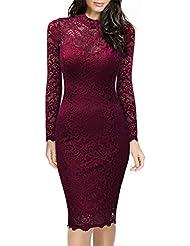 Miusol® Damen Cocktailkleid Elegant Abendkleid Brautjungfer Kleider Rundhals Langarm Spitzenkleid Stretch Ball Kleid Weinrot EU 36-46
