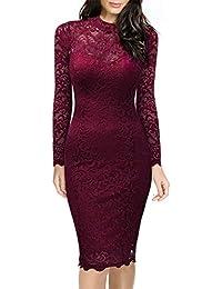 Miusol Damen Elegant Kleid Rundhals Cocktailkleid Knilanges Spitzenkleid Stretch Ball-Abendkleid Rotwein, Schwarz 36-44