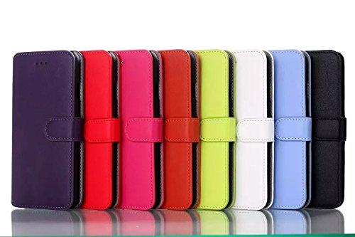 iPhone Case Cover Nouveau style coréen de couleur solide portefeuille Flip étui en cuir couvercle avec support / slot pour carte pour iPhone 6 6s ( Color : Green , Size : IPhone 6 6s ) Black