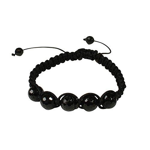 Shamballa Energie-Armband, schwarzer Turmalin fac., Größe: M, handgeknotet in D