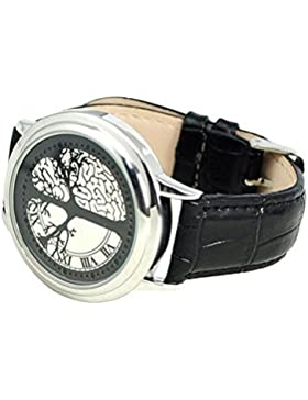 Armbanduhr - SODIAL(R) 60 LED elektronische Armbanduhr, Digitaluhr mit ungewoehnlichem Design und schwarzem Leder