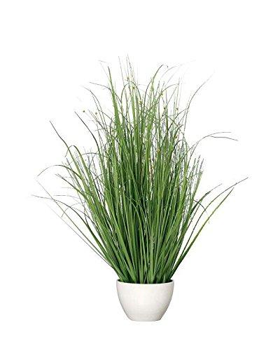 �en Topf - Gras mit Blüten - Höhe: 80cm - Farbe: Grün / Weiß - Hochwertige Dekopflanze / Künstliche Pflanze / Grünpflanze / Topfpflanze zur Dekoration ()