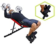 ALLYSON FITNESS Adjustable Incline, Decline, and Flat Bench with Leg Support- Weight Strength Training, Sit Up