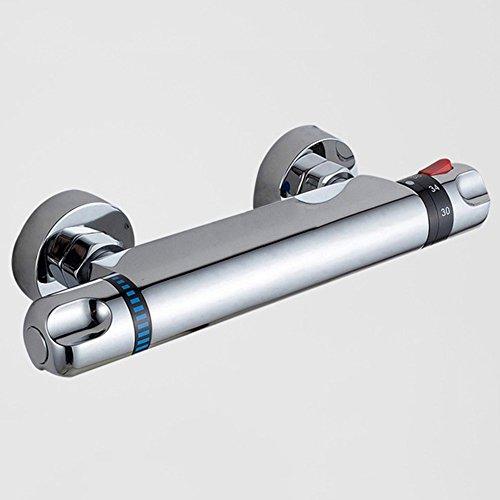 Sccot Duschthermostat Brausethermostat Duschthermostat Set Duscharmatur mit Temperatureinstellung und Durchflusseinstellung, Mischbatterie Dusche Thermostat mit 38 °C Sicherheitstaste