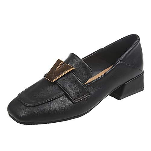BURFLY Damenschuhe mit niedriger Ferse, lässige quadratische Erbsenschuhe, College-Schuhe, Schuhe für College-Windfrauen