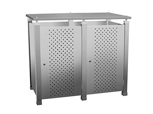 Mülltonnenbox Modell Pacco E für zwei 120 ltr. Tonnen in Edelstahloptik